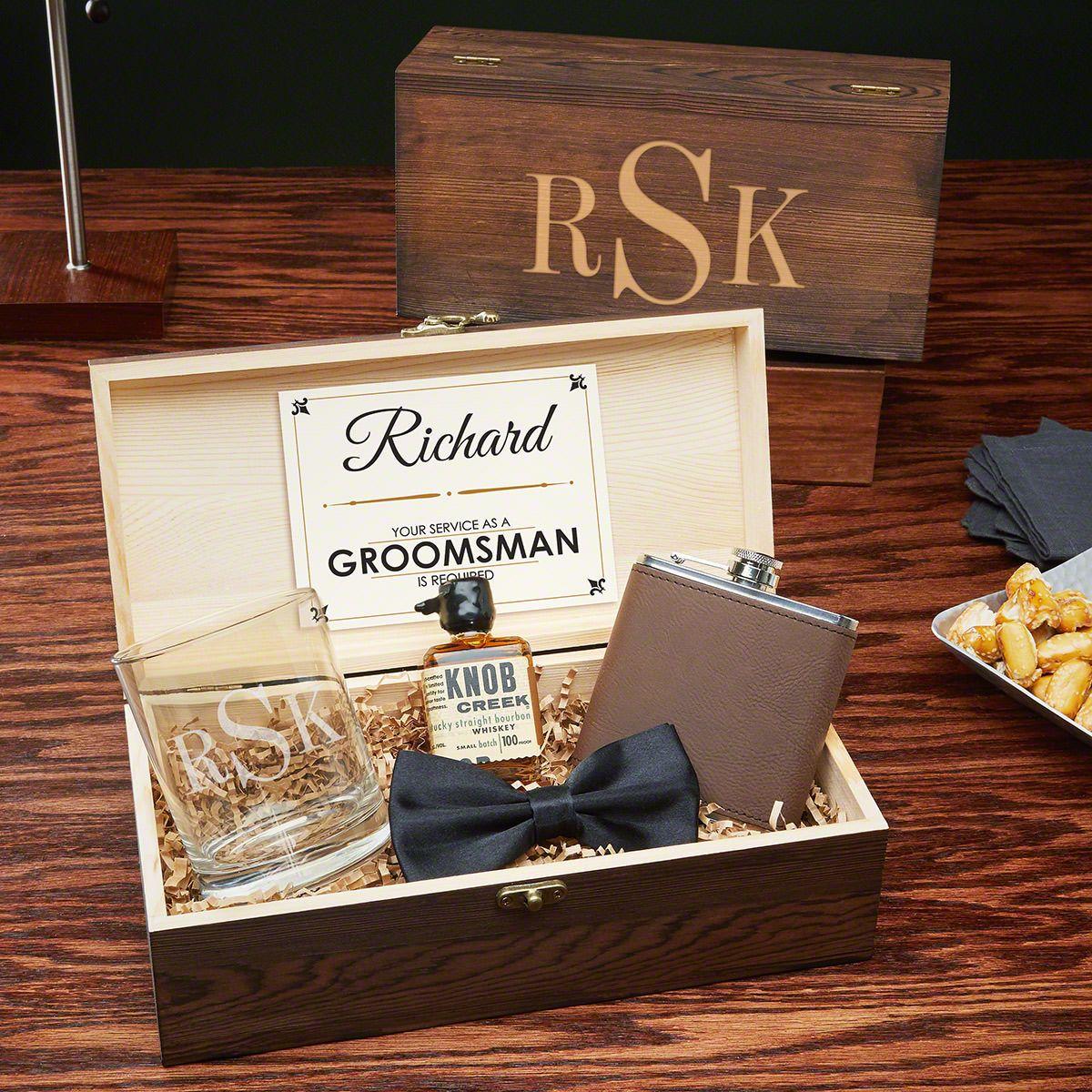Classic Monogram Custom Groomsmen Gift Box Set