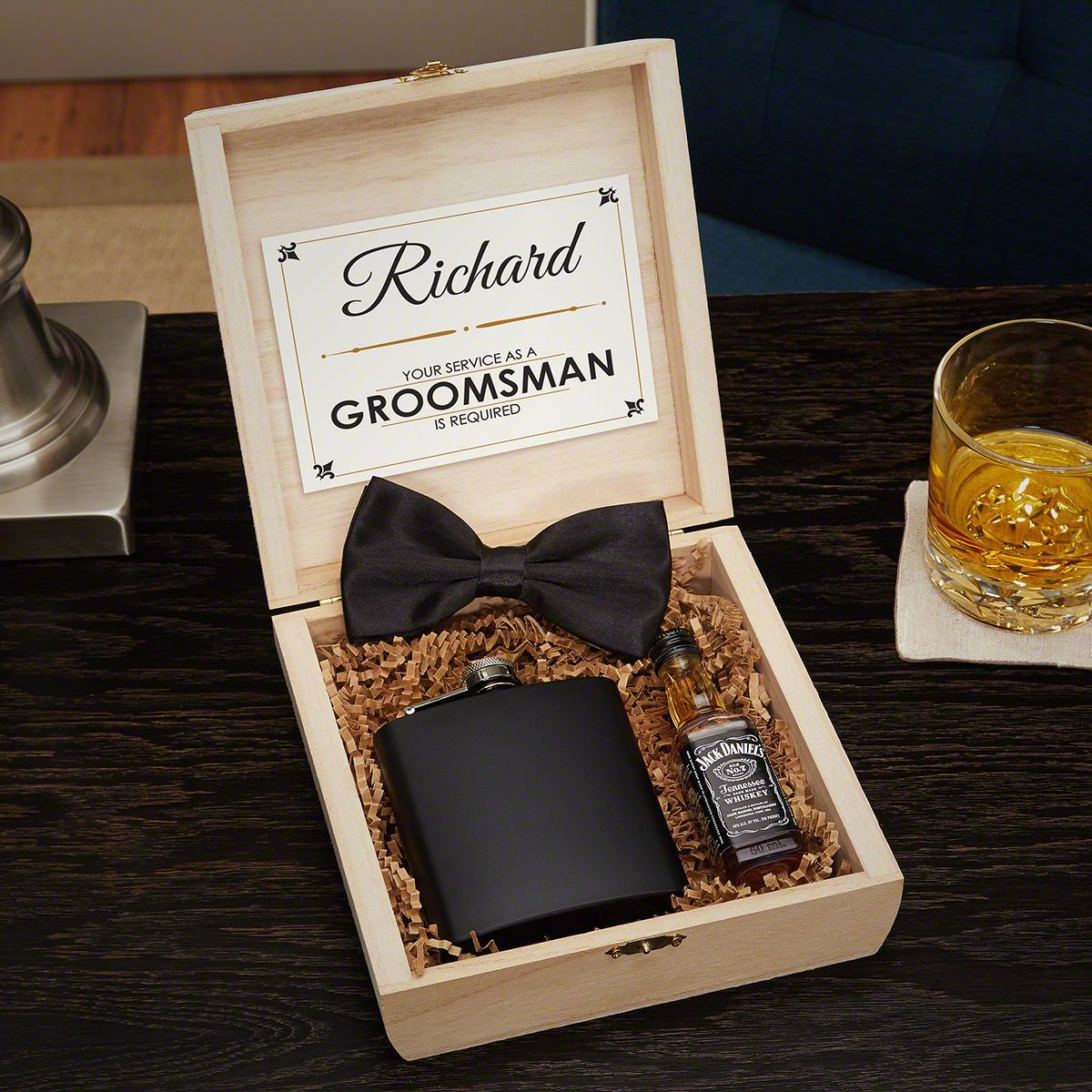 Secret Agent Personalized Cigar Box Wooden Crate Groomsmen Gift Set