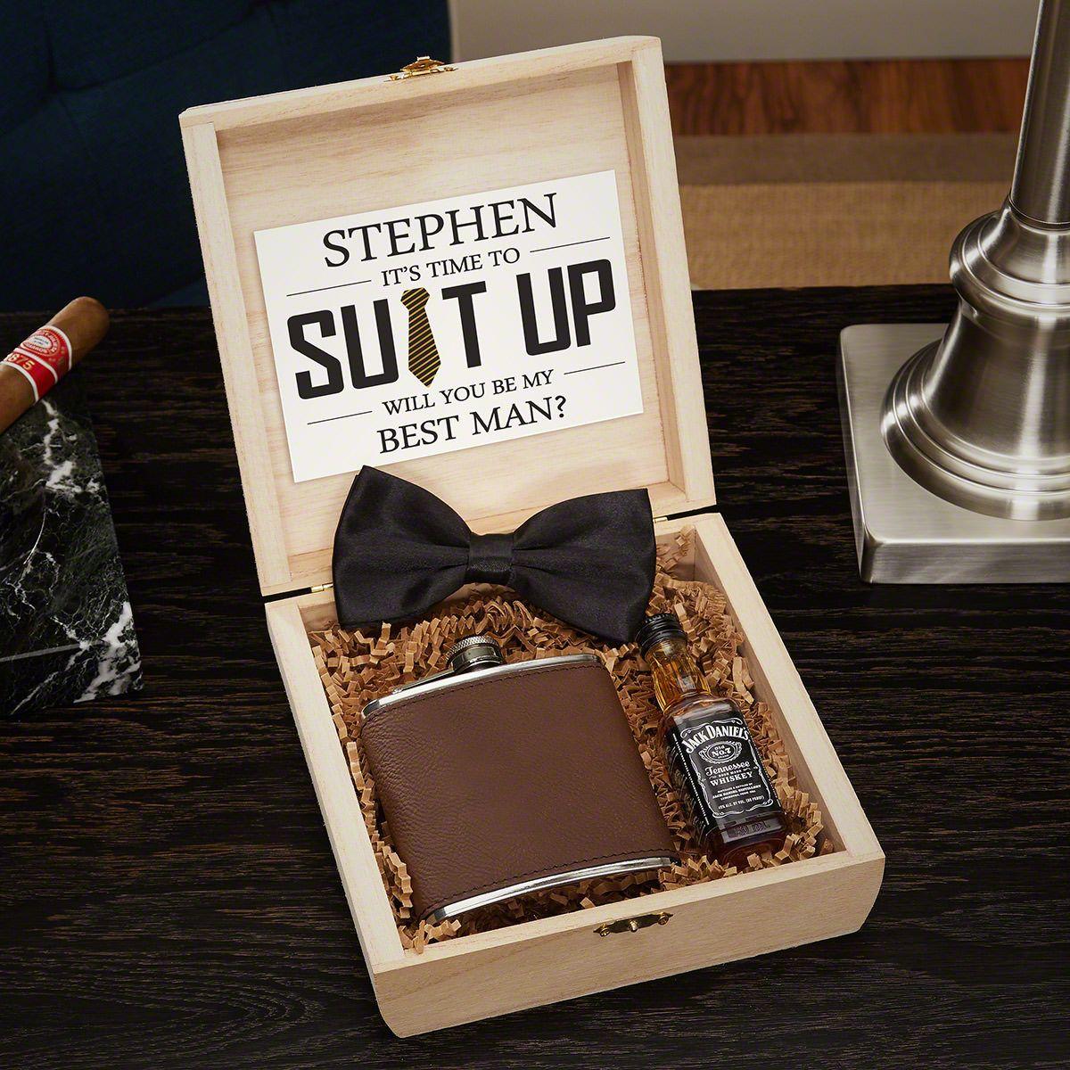 Classic Monogram Custom Cigar Humidor Groomsmen Gift Box Set
