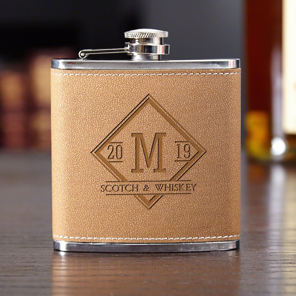Drake Cocoa Leather Hip Flask