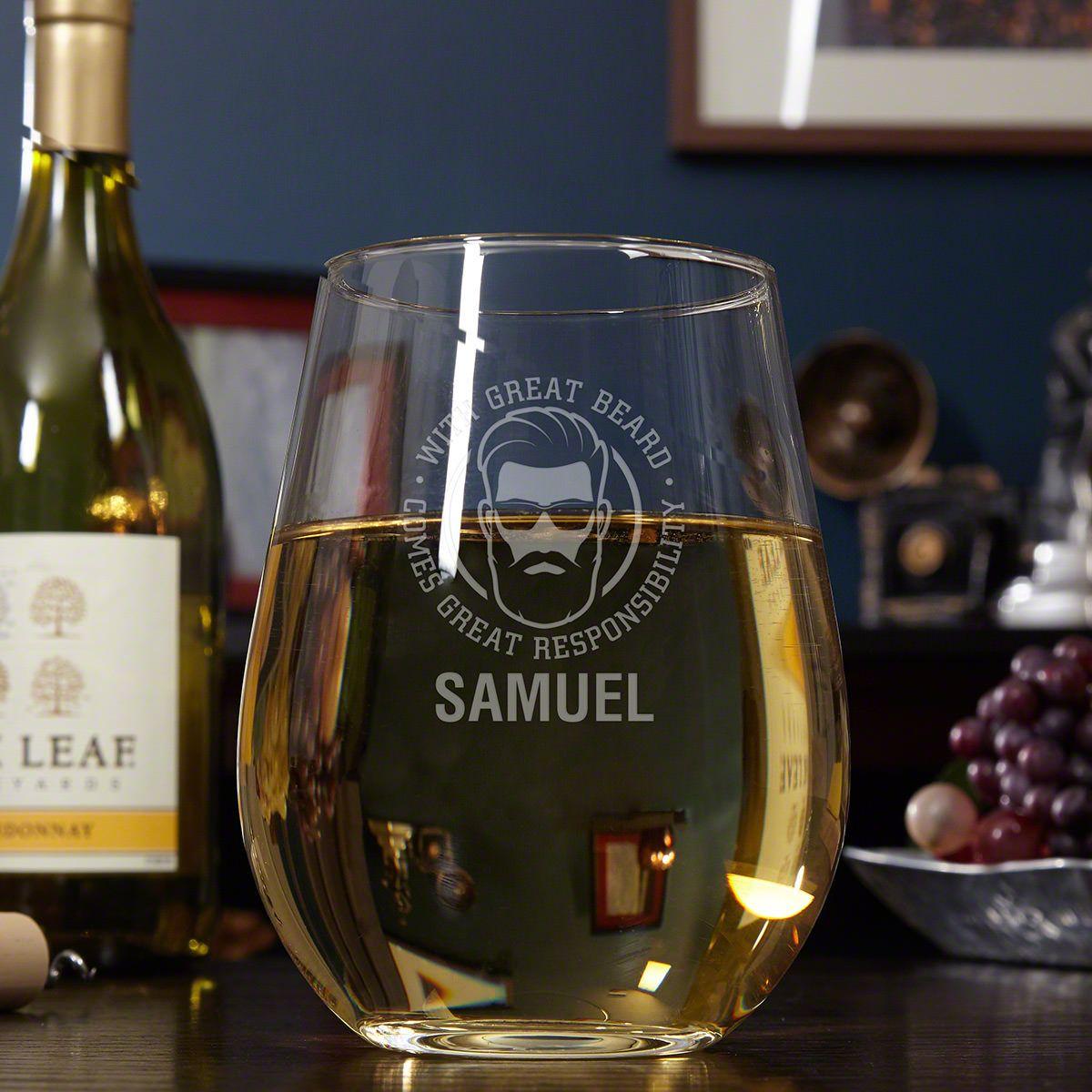 Great Beard, Great Responsibility Giant Stemless Engraved Wine Glass Beard Lover Gift