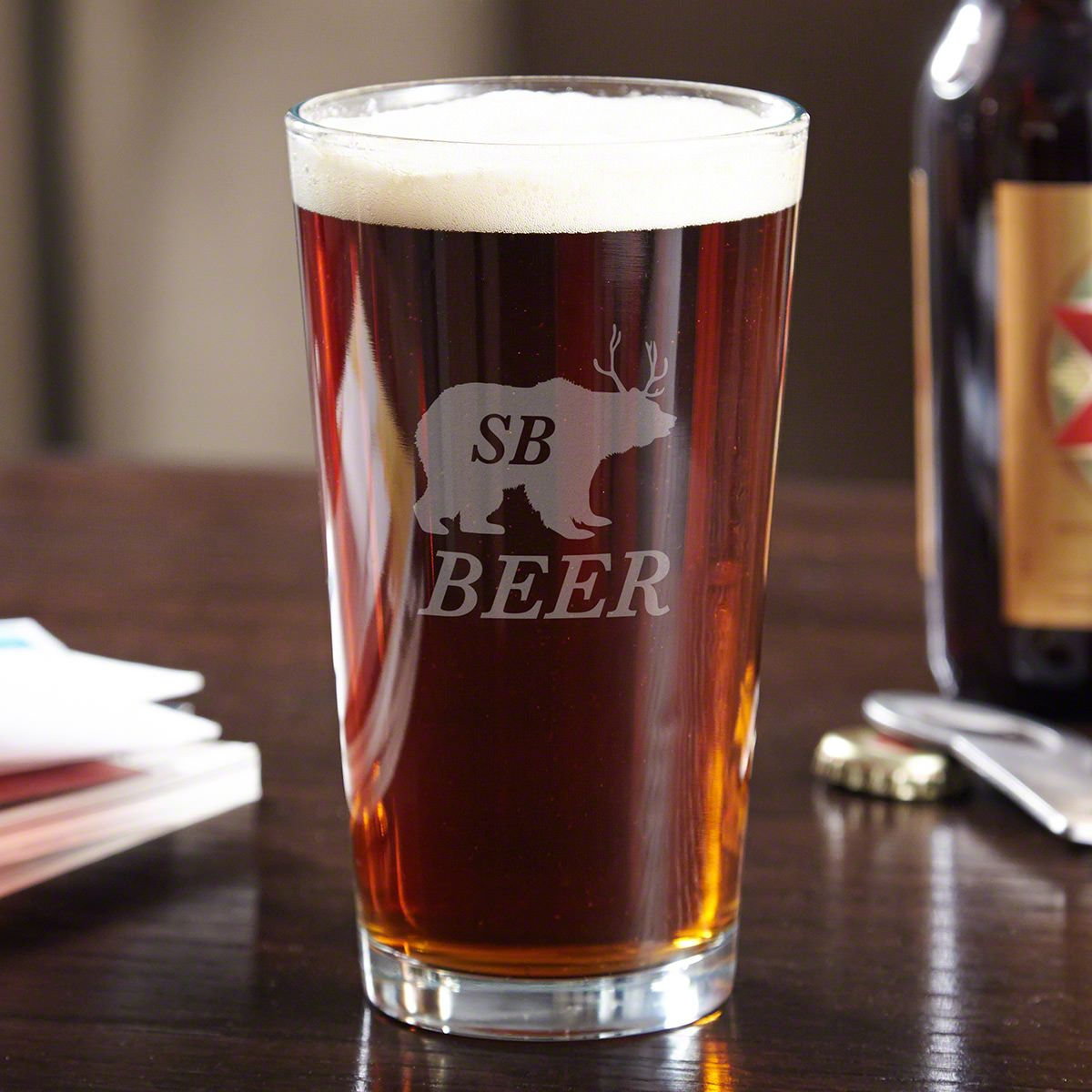 Bear Beer Deer Funny Engraved Pint Glass
