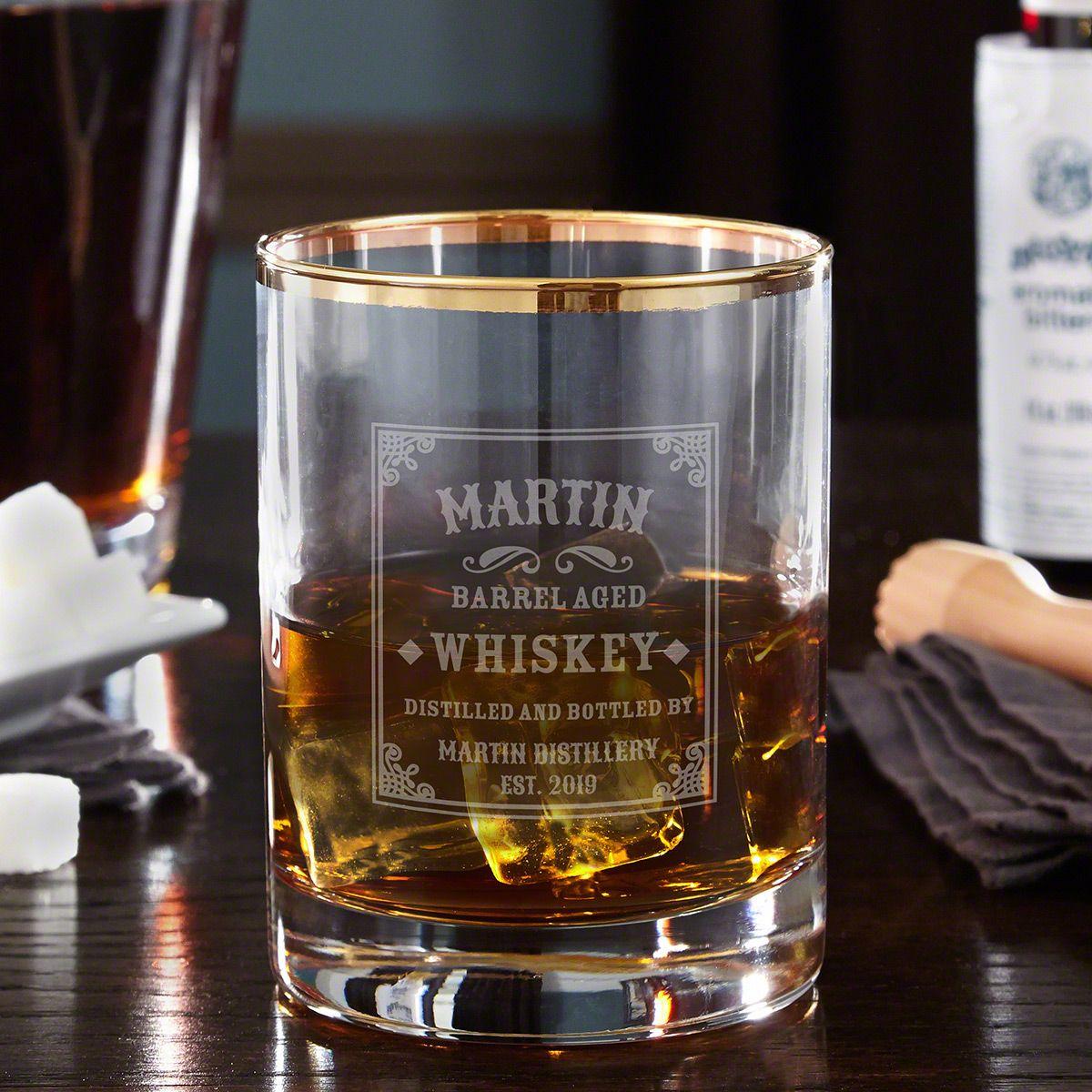 Stillhouse Gold Rim Whiskey Rocks Glass