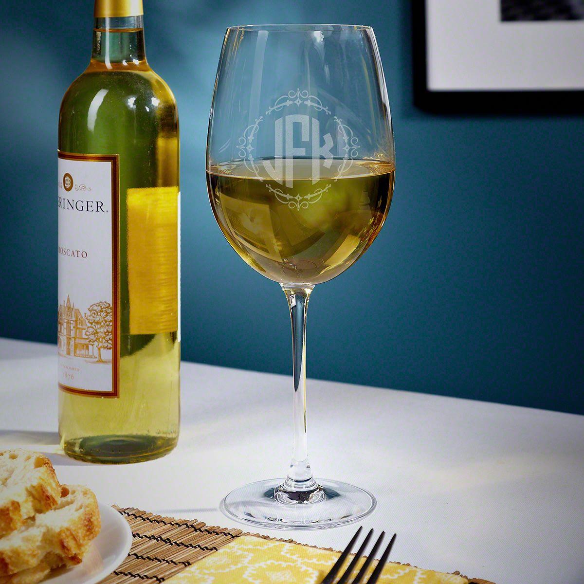 Wedding Monogram Custom White Wine Glass