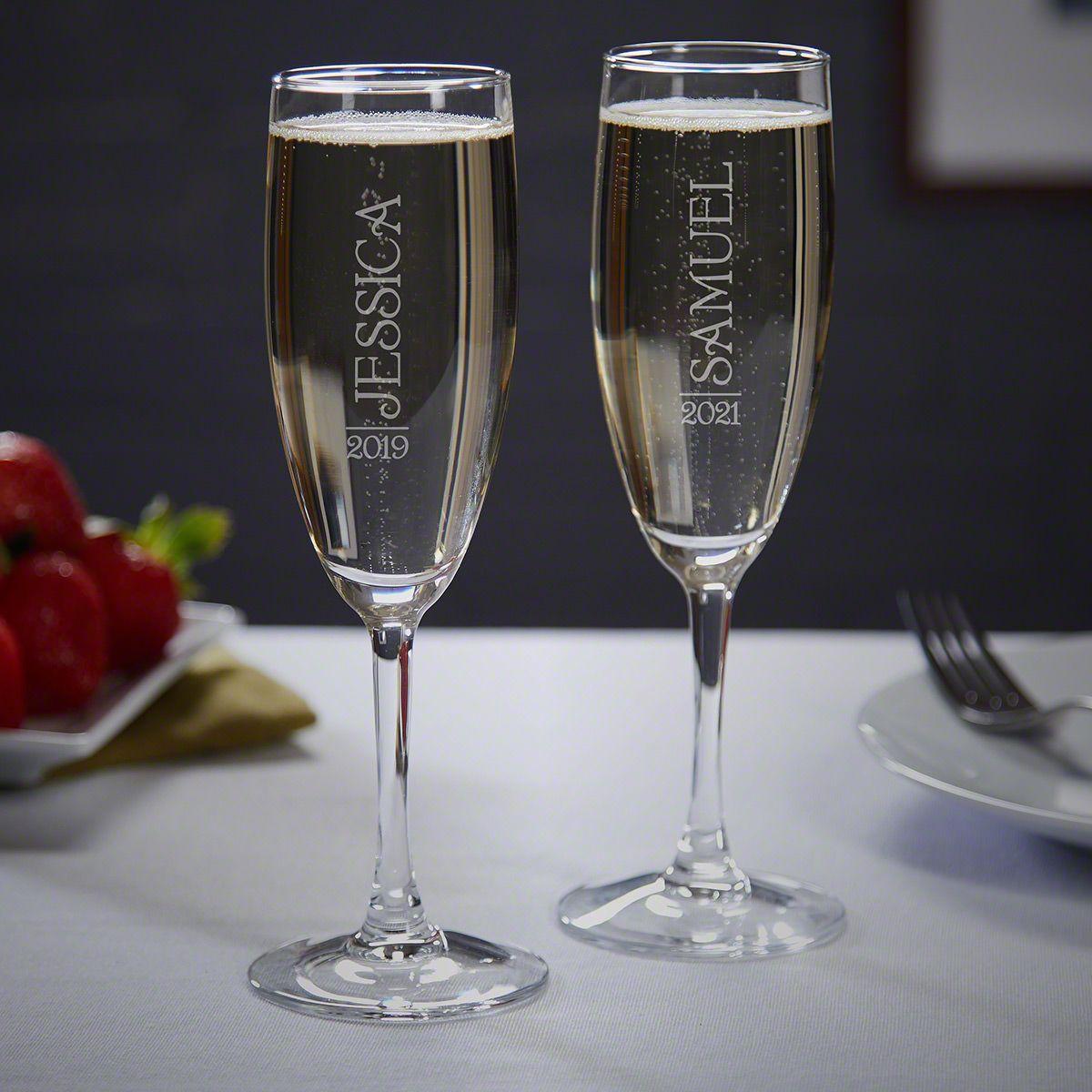 63539076218 Jubilation Personalized Unique Champagne Flutes Set of 2