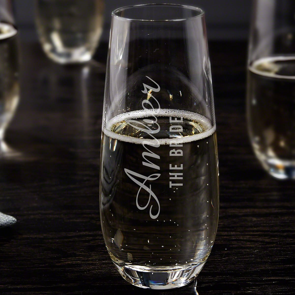 Wedding Party Personalized Stemless Champagne Flute
