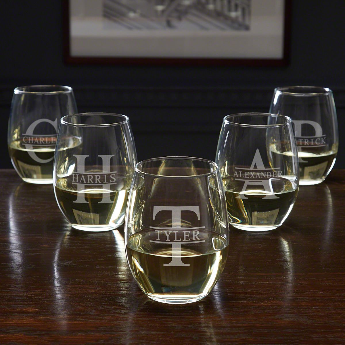 Oakmont Personalized Wedding Party Wine Glasses 5 Piece Set