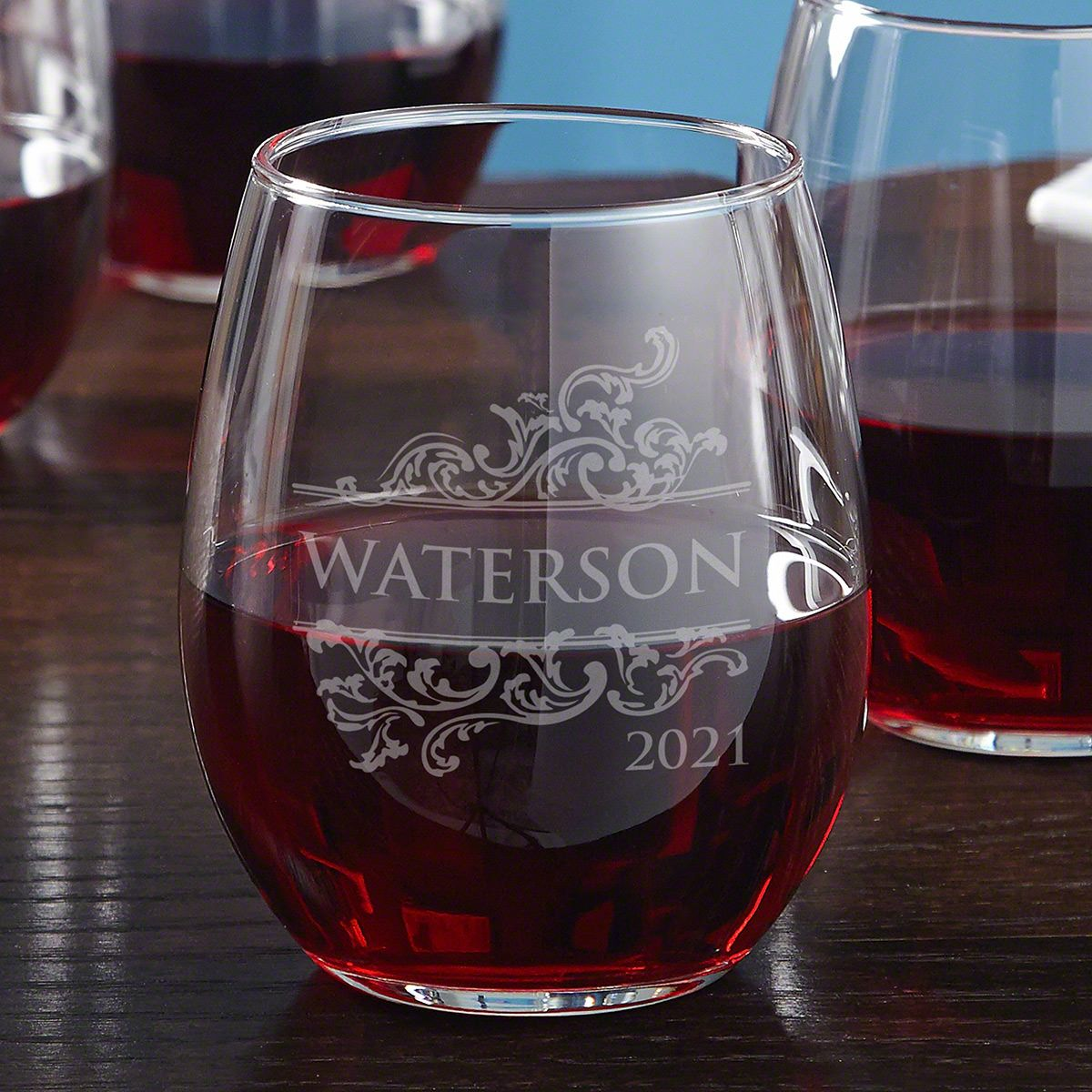 Livingston Engraved Stemless Red Wine Glass