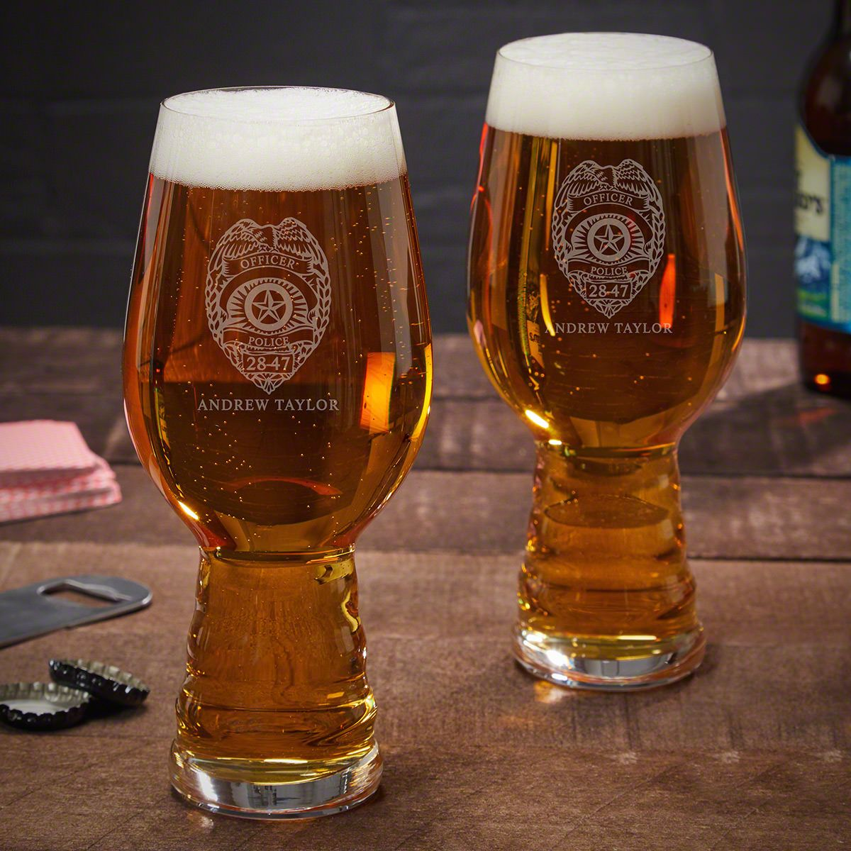 Police Badge Custom Spiegelau IPA Glasses - Gifts for Police Officers