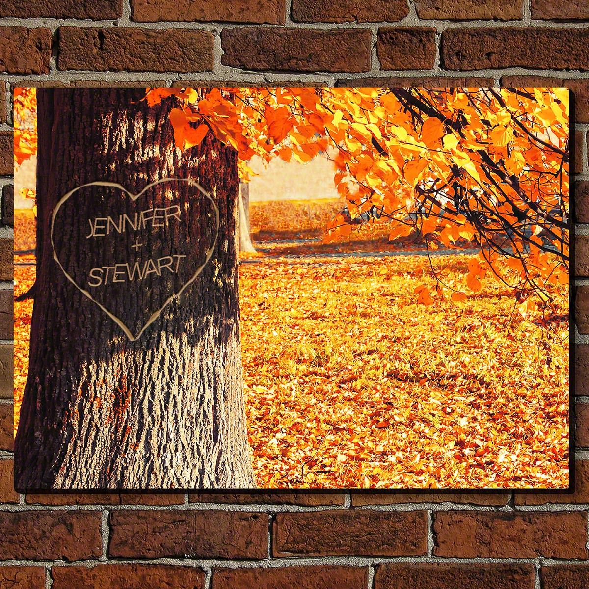 Carved Heart Tree Personalized Sign