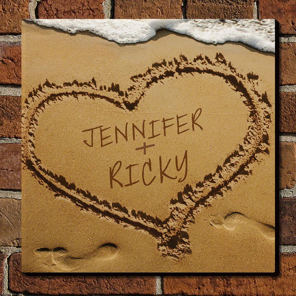 Heart in Sand Custom Sign - Gift for Couples
