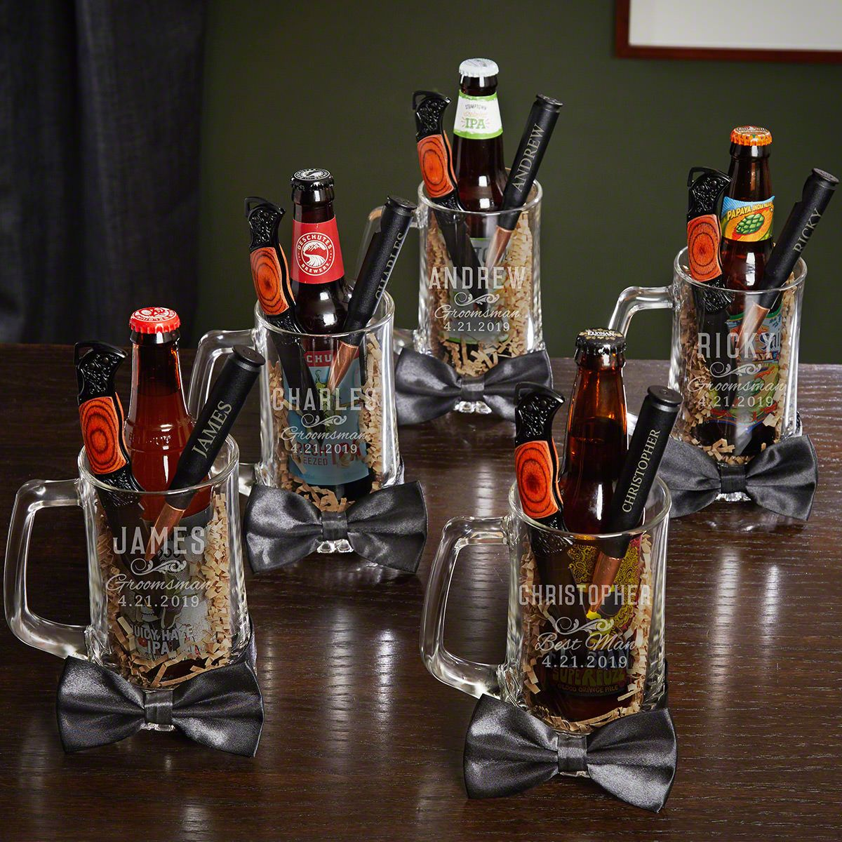 7460-classic-groomsman-beer-mug-gift-set-set-of-5.jpg & Classic Groomsman Personalized Beer Mugs u0026 Bottle Openers u2013 5 ...