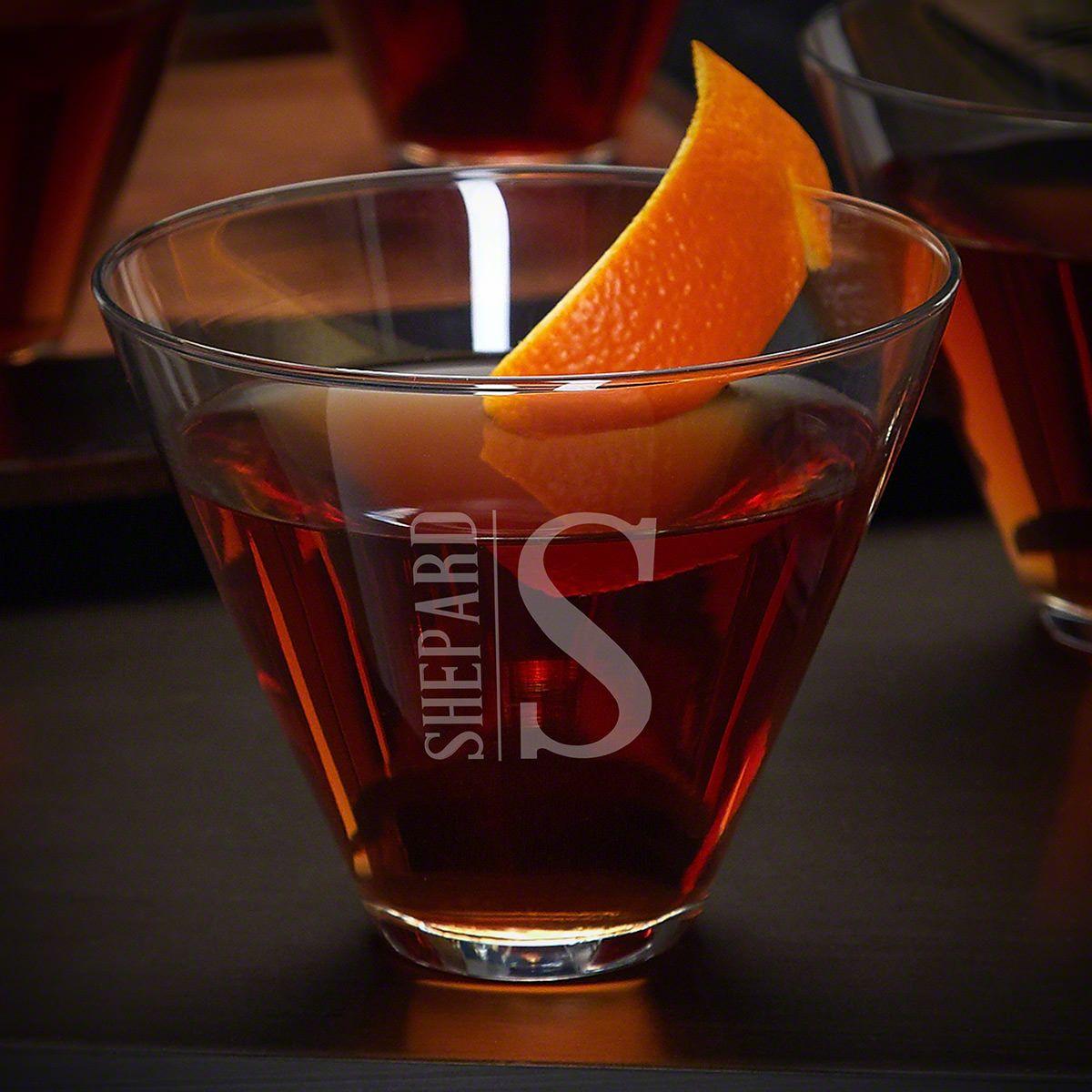 Elton Custom Stemless Martini Glass