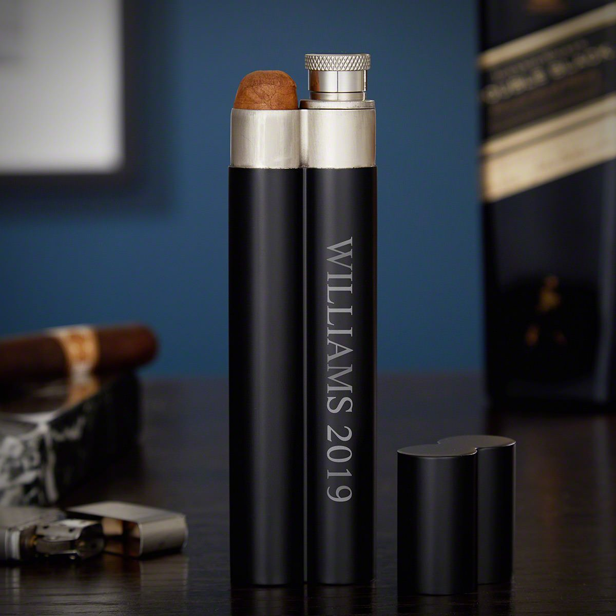 Personalized Black Stainless Steel Slim Cigar Flask