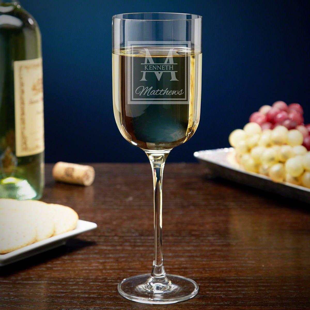 Oakhill Engraved Long Stemmed Wine Glass for White Wine