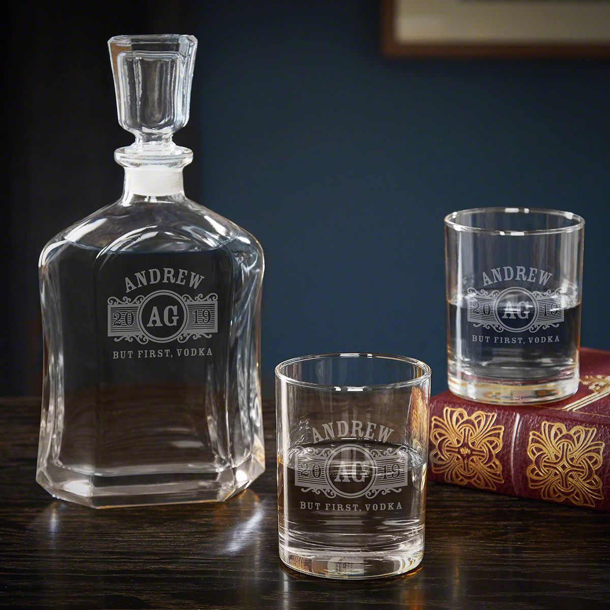 Marquee Custom Vodka Decanter Set with Rocks Glasses