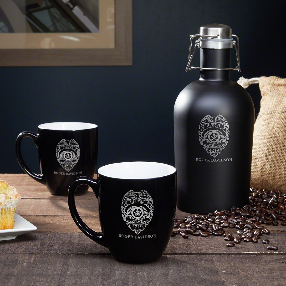 Police Badge Personalized Coffee Growler & Mug – Police Gift Set
