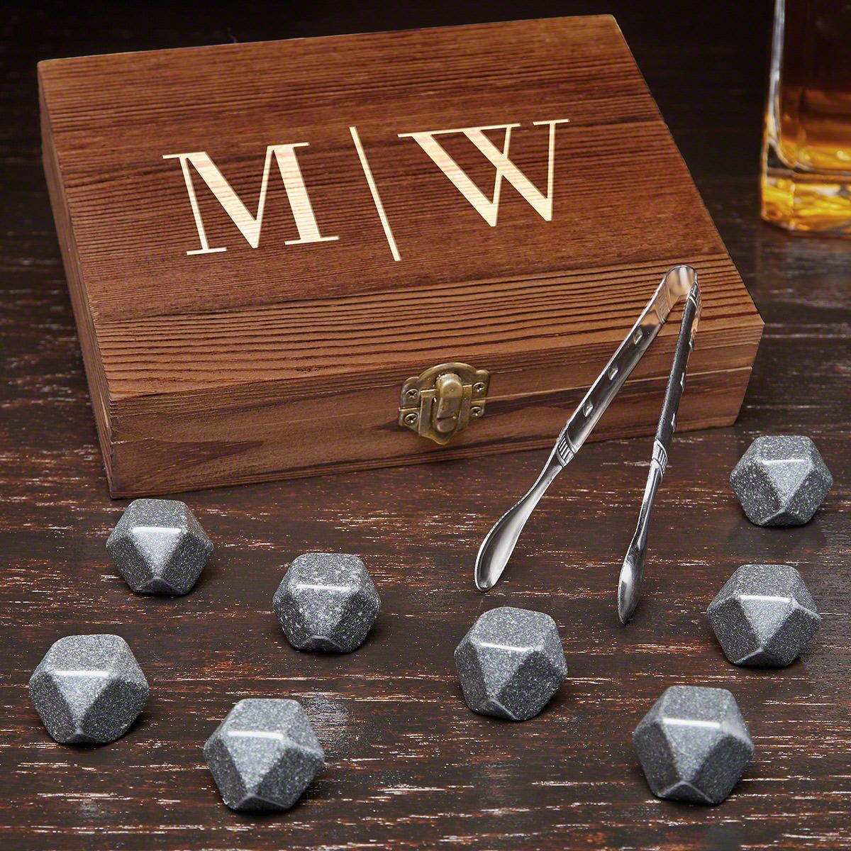 Quinton Engraved Black Onyx Whiskey Stones Gift Set