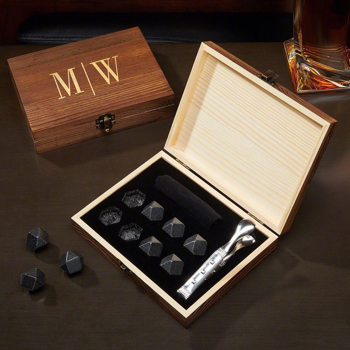 Quinton Engraved Black Onyx Whiskey Stones Gift Set