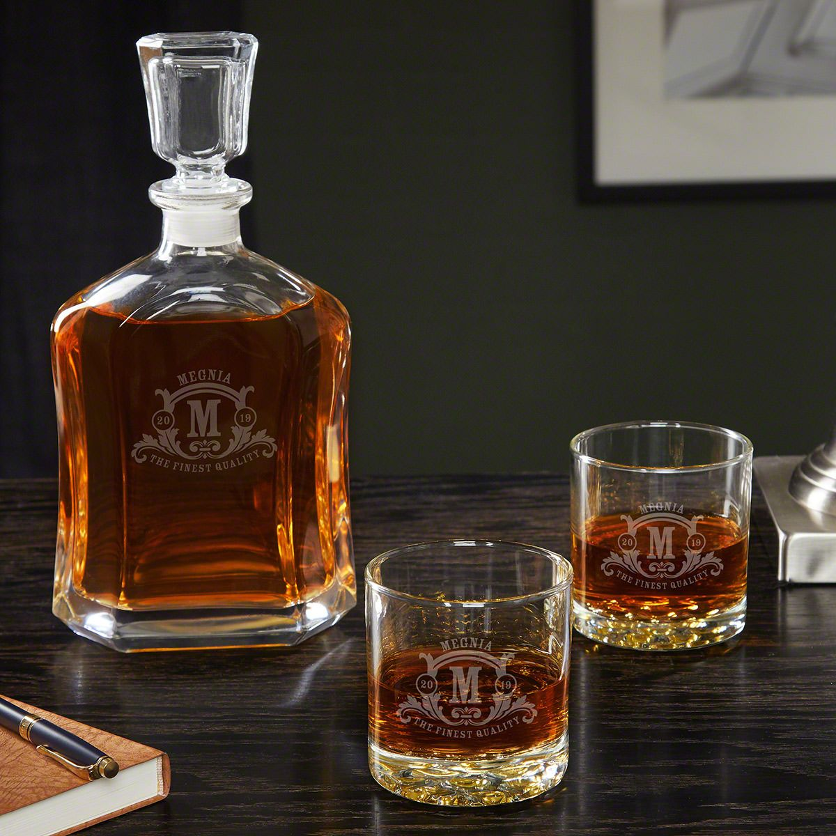 Westbrook Argos Personalized Decanter Set With Buckman Glasses