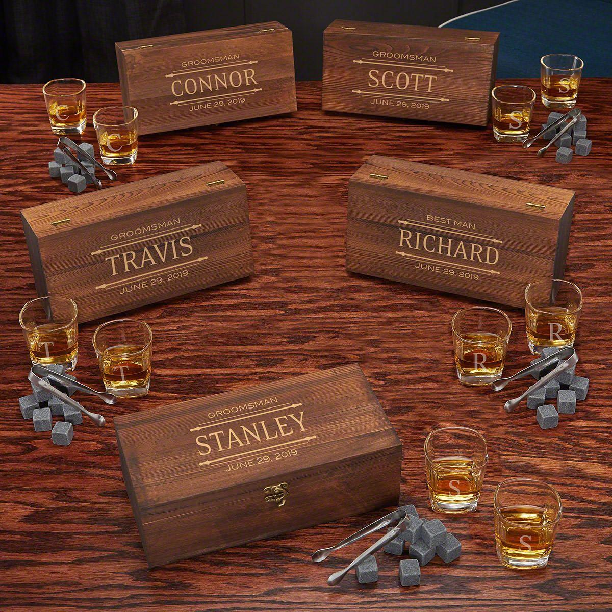 Stanford Shot Glass Whiskey Stones Custom Groomsmen Gift Boxes Set Of 5