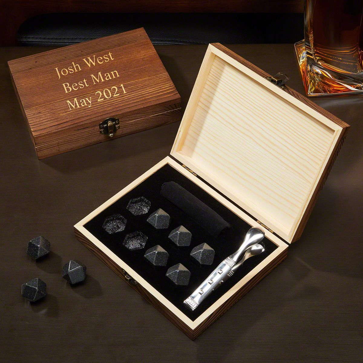 Personalized Black Onyx Whiskey Stones Set