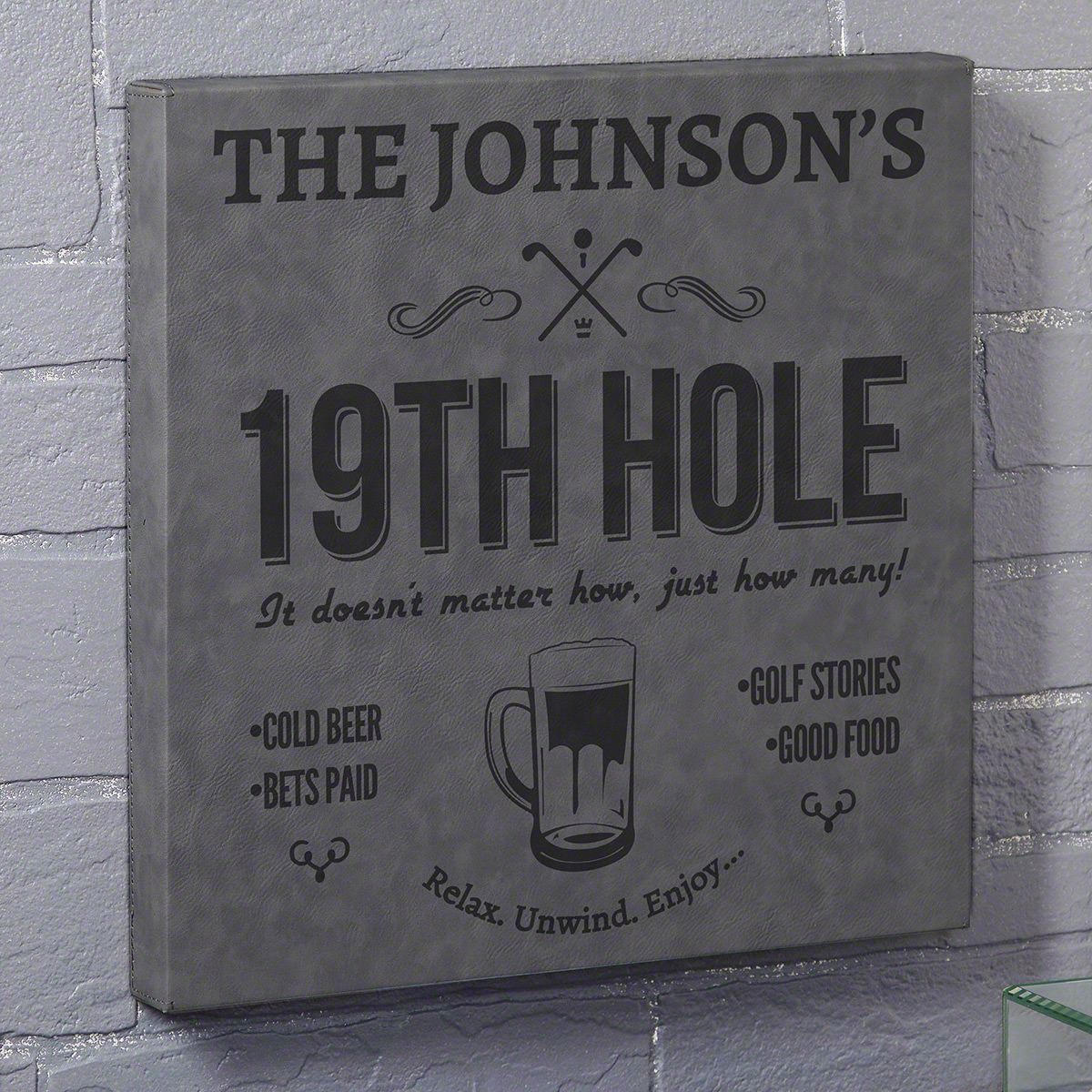 Nineteenth Hole Gray Leatherette Custom Bar Sign - Gift for Golfer
