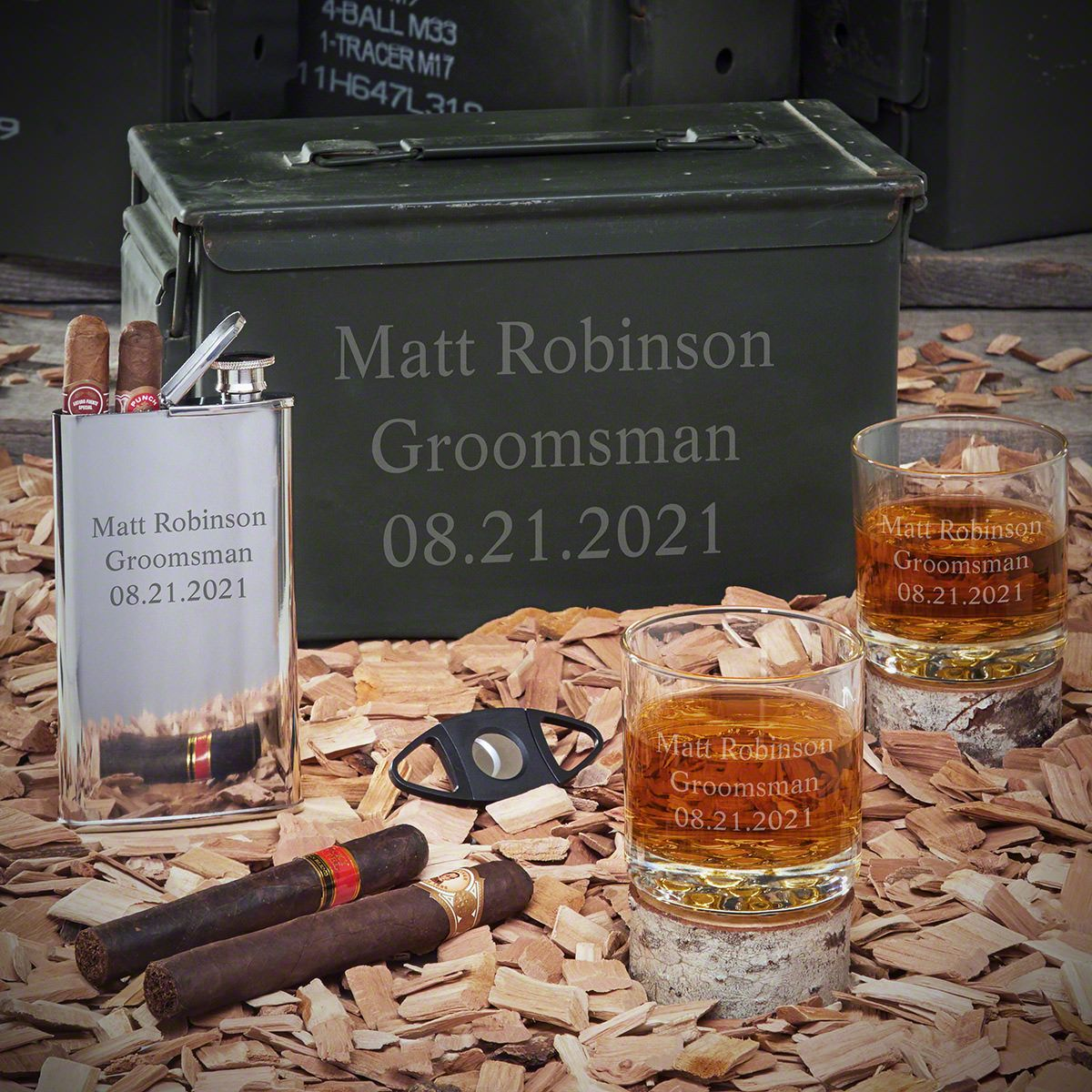 Personalized .50 Cal Ammo Can Gift Set for Men