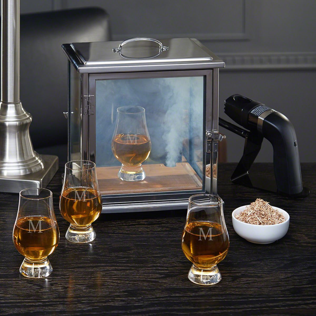 Advanced Smoke Box Kit with Engraved Glencairn Whiskey Glasses