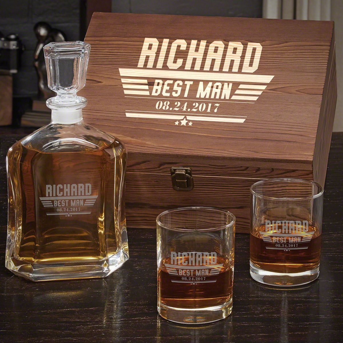 Maverick Custom Argos Decanter Whiskey Box Set with Eastham Glasses – Gift for Groomsmen