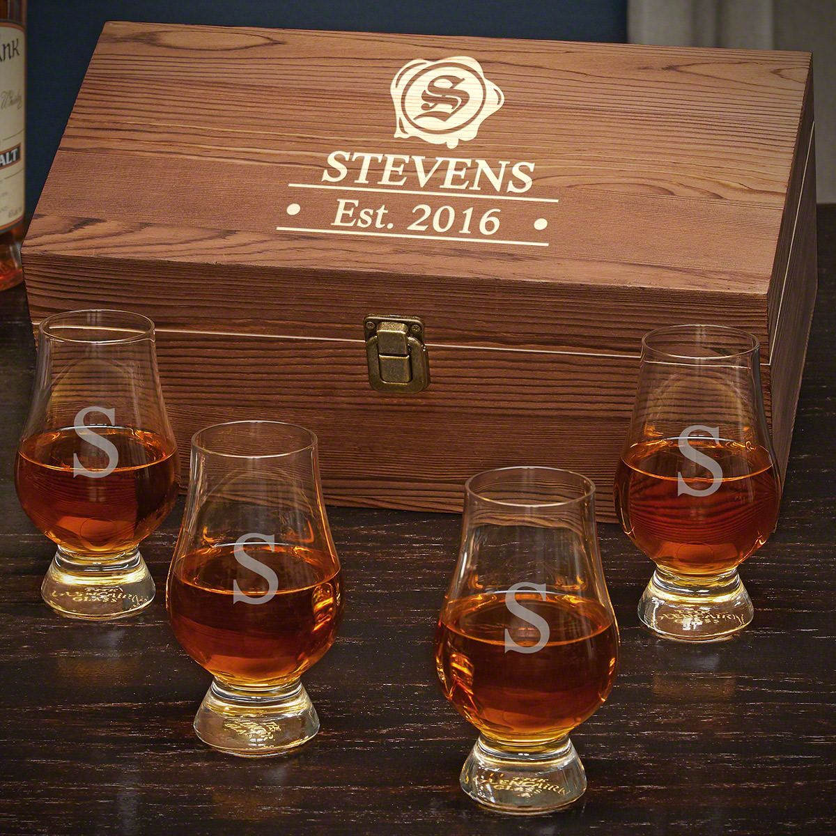 Wax Seal Personalized Glencairn Whiskey Gift Set