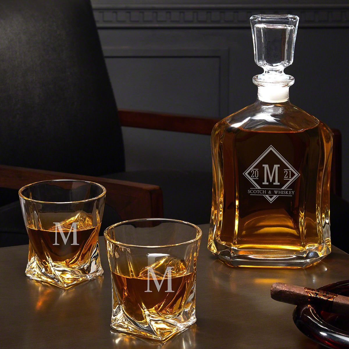 Drake Personalized Whiskey Decanter Set with Twist Glasses