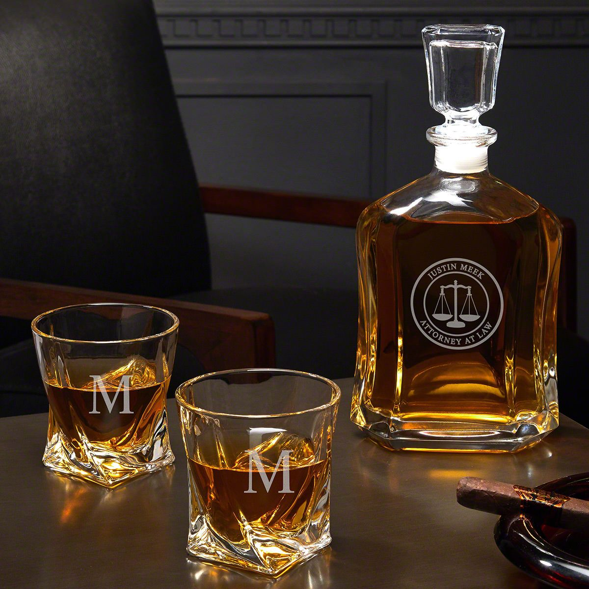 Scales of Justice Custom Decanter & Twist Glasses – Gift for Lawyer