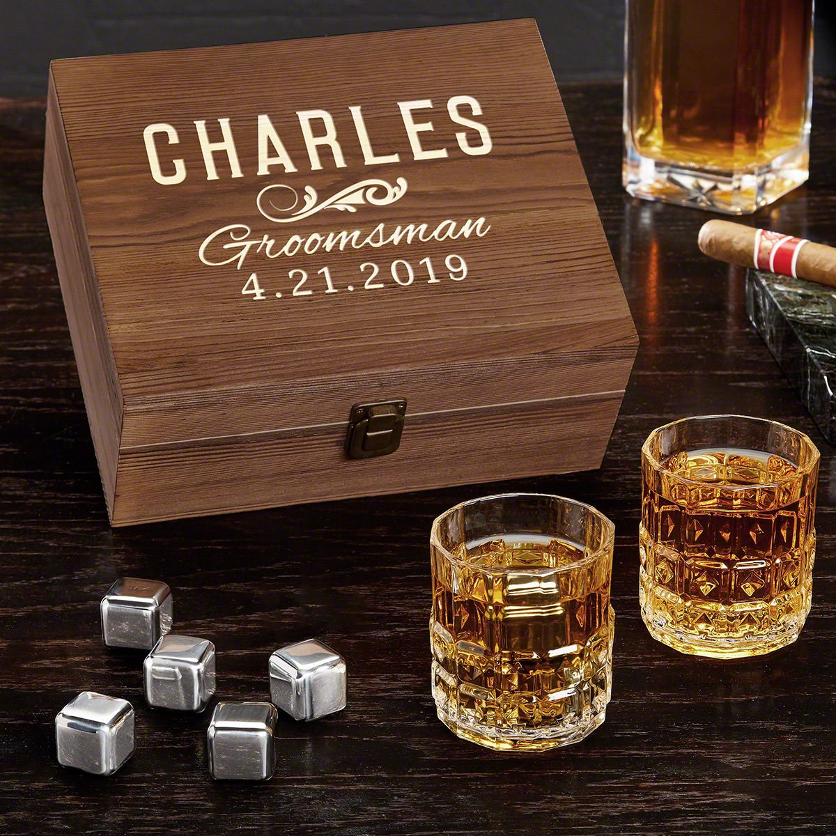 Classic Groomsman Personalized Whiskey Set - Gift for Groomsmen