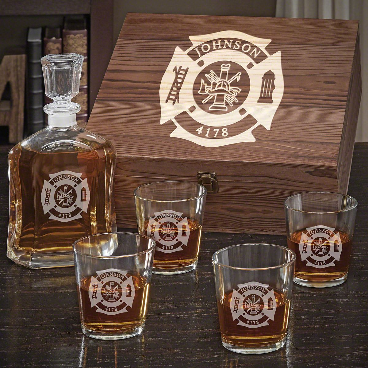 Fire & Rescue Personalized Argos Decanter Whiskey Set with On the Rocks Glasses - Gift for Firefighters