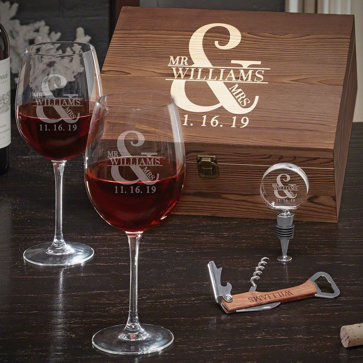 Love & Marriage Personalized Wine Gift Set