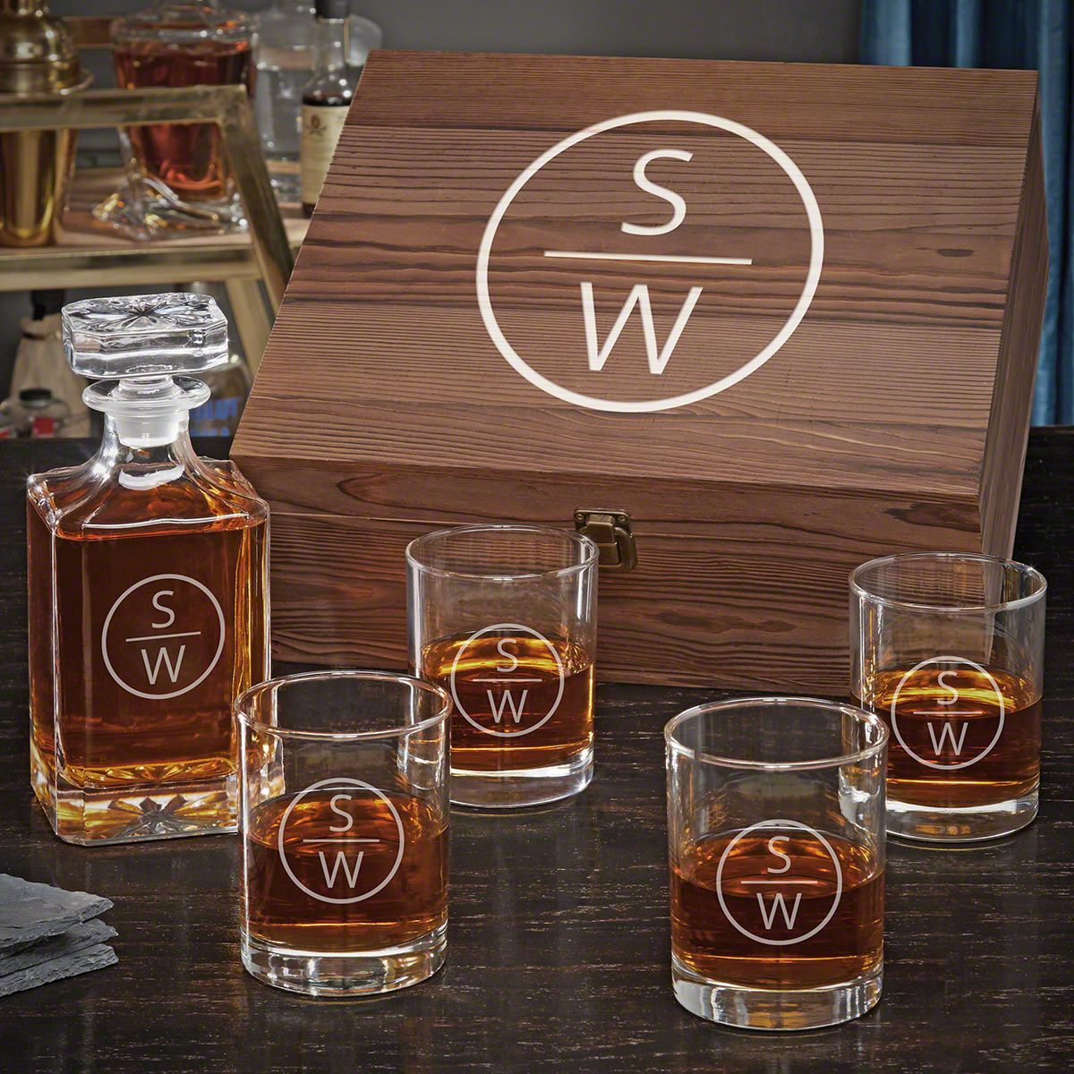 Emerson Carson Decanter Personalized Whiskey Gift Set for Him with Eastham Glasses