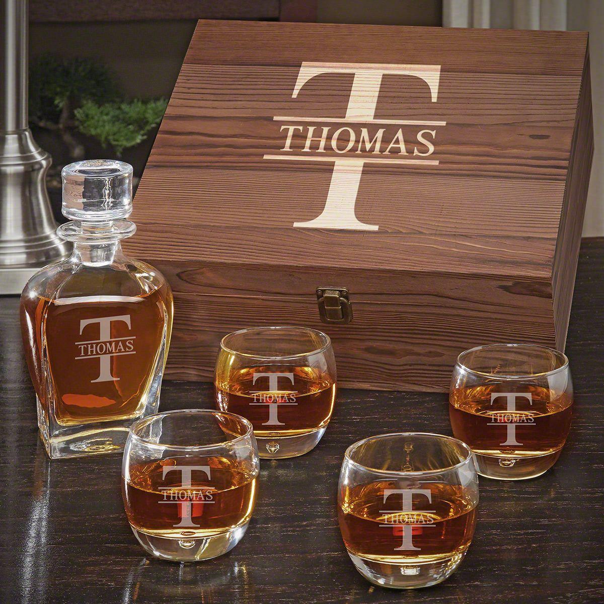 Oakmont Engraved Whiskey Draper Decanter Set with Uptown Glasses