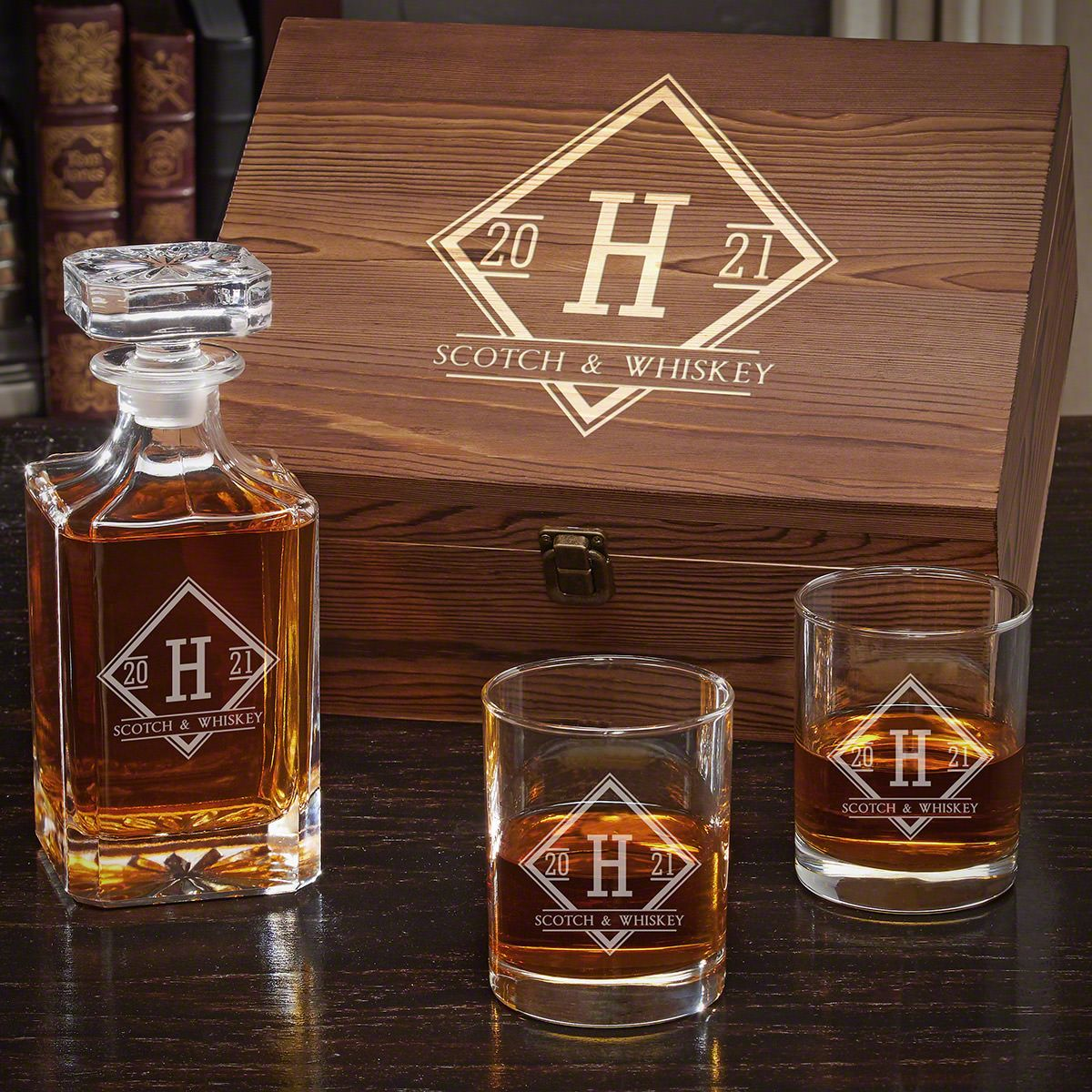 Drake Personalized Carson Decanter Whiskey Gift Set for Him with Eastham Glasses