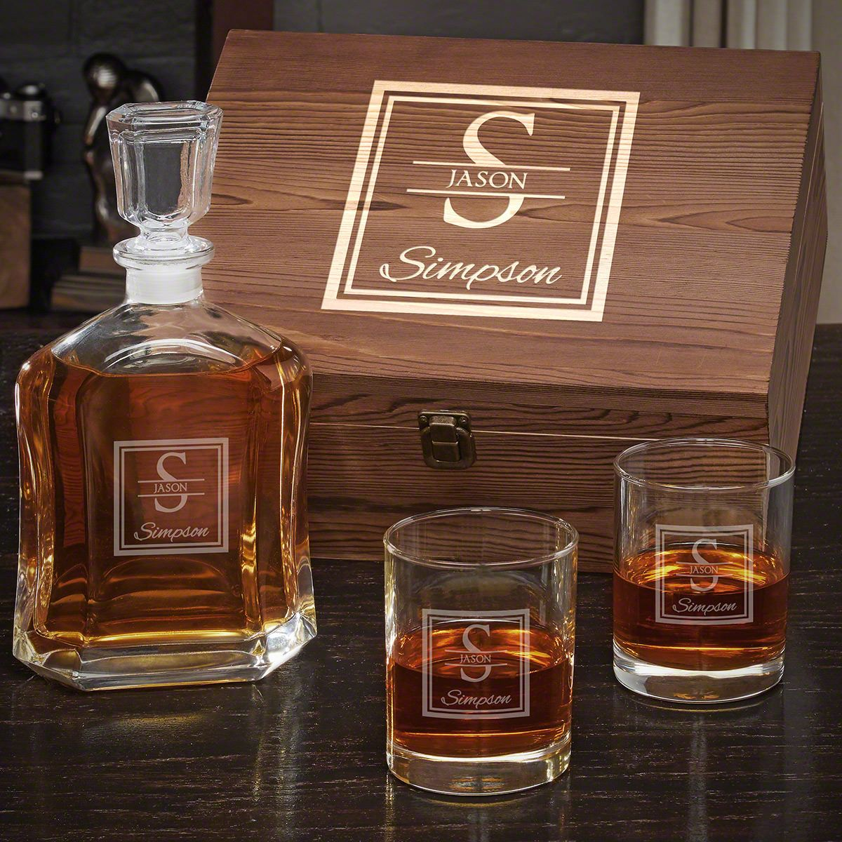 Oakhill Engraved Whiskey Argos Decanter Set with Eastham Glasses