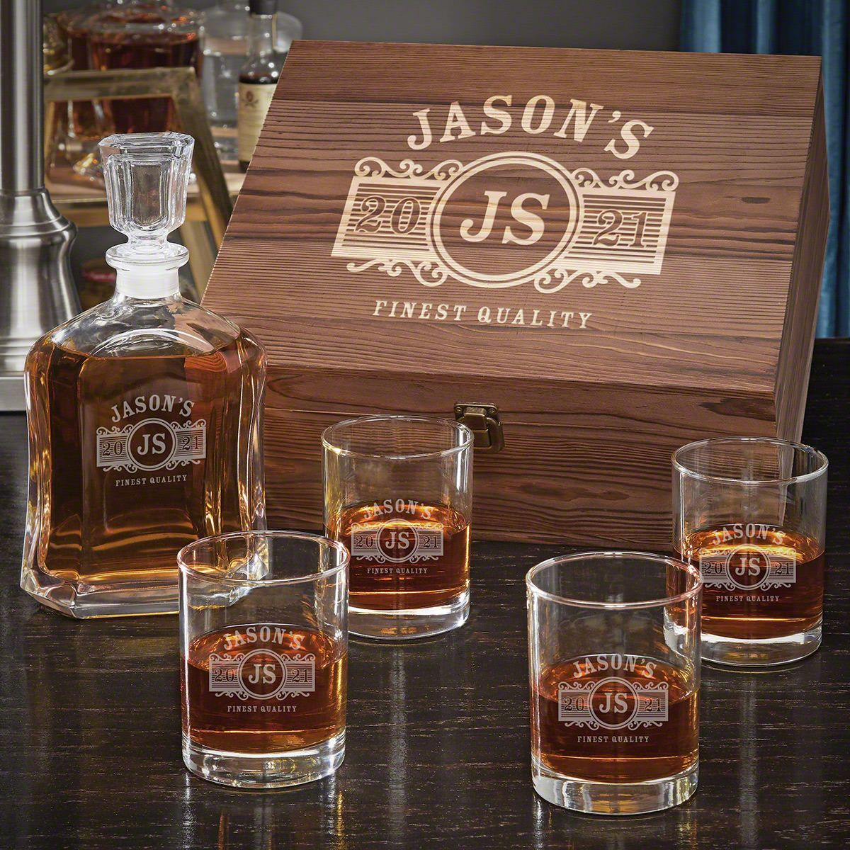 Marquee Argos Decanter Personalized Whiskey Gift Set with Eastham Glasses