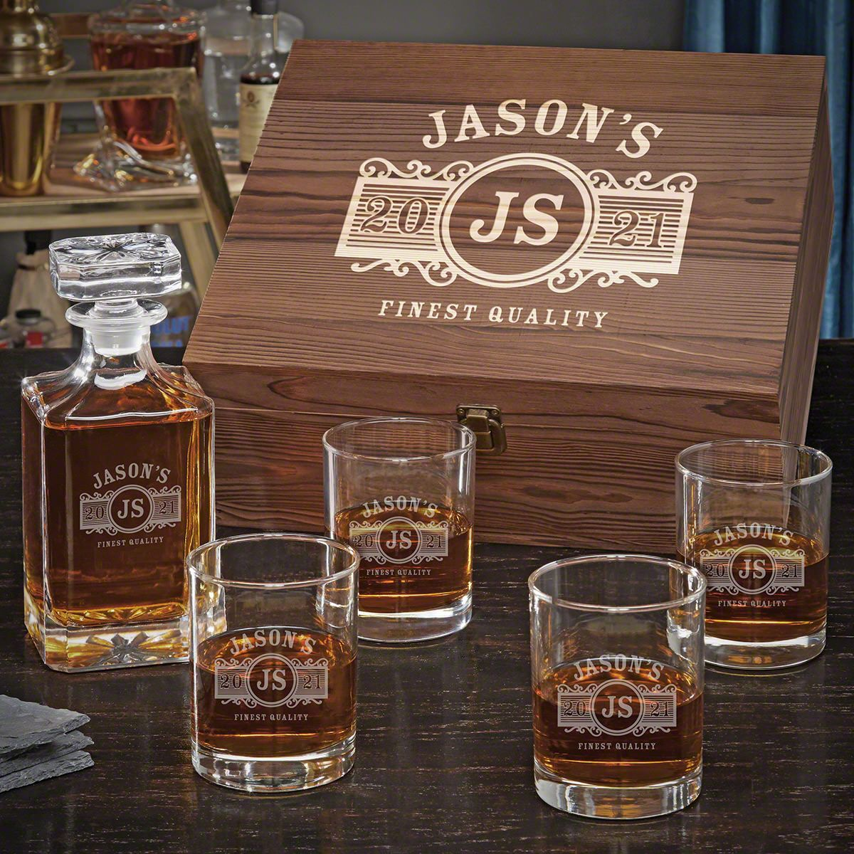 Marquee Personalized Carson Decanter Set with Eastham Glasses