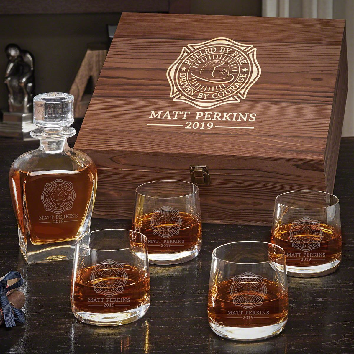 Fueled by Fire Draper Decanter Whiskey Box Set with Benson Glasses - Gift for Firefighters
