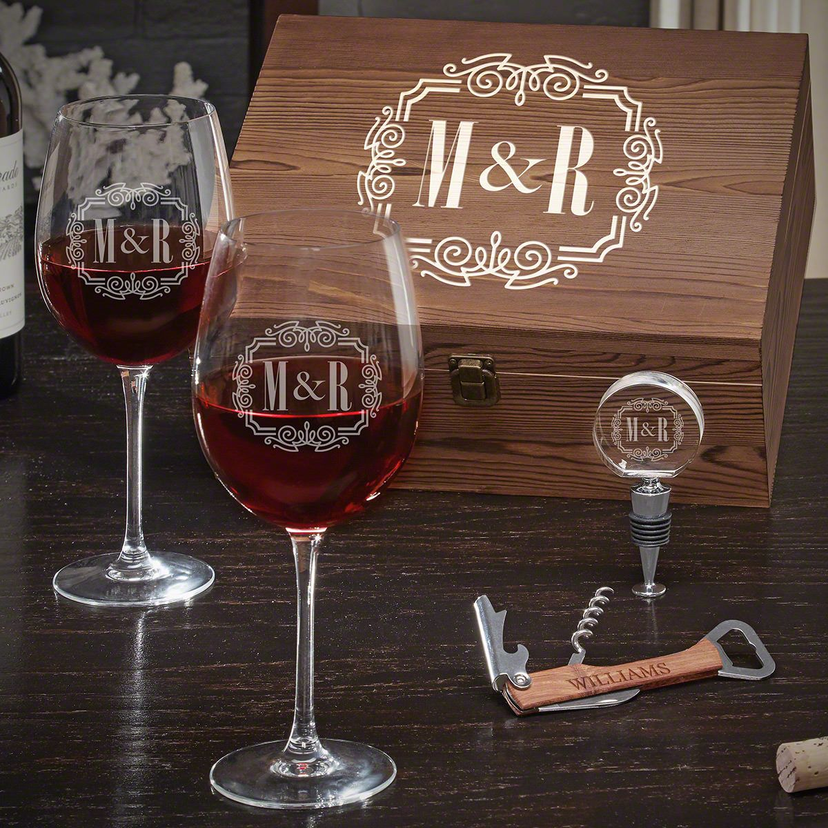 You & Me, Together Forever Personalized Wine Gift Set for Couples