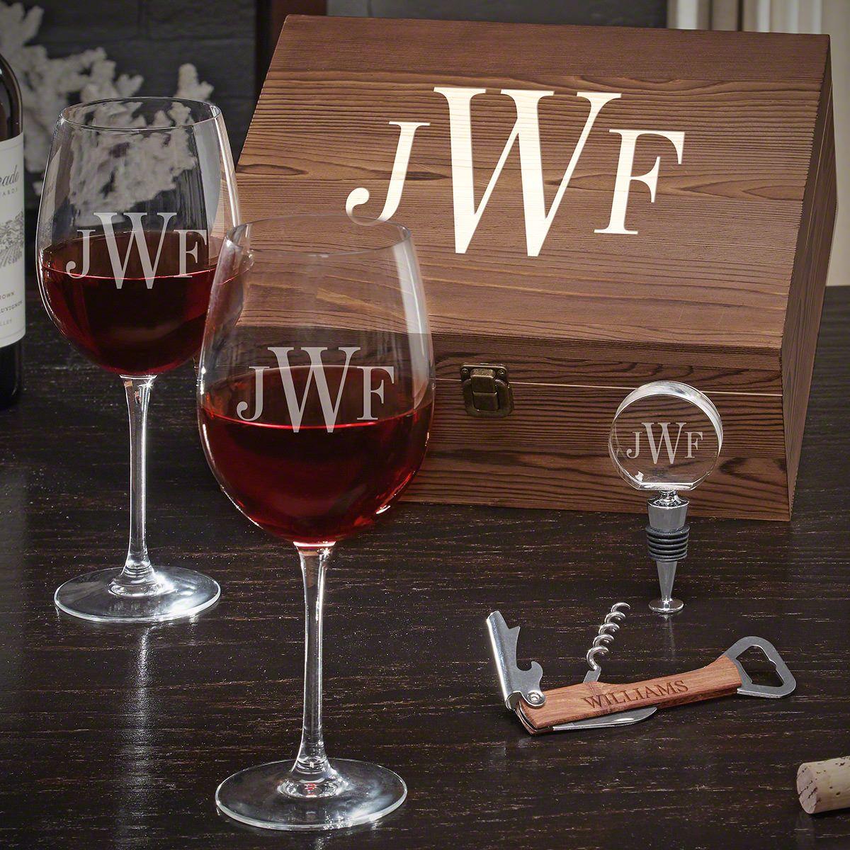 Classic Monogram Engraved Wine Gift Set