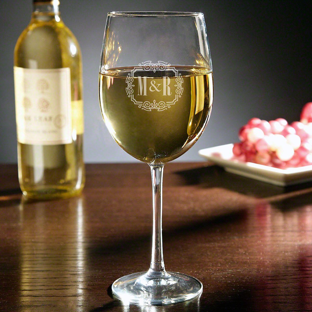 You & Me Together Forever Monogram Engraved Wine Glass