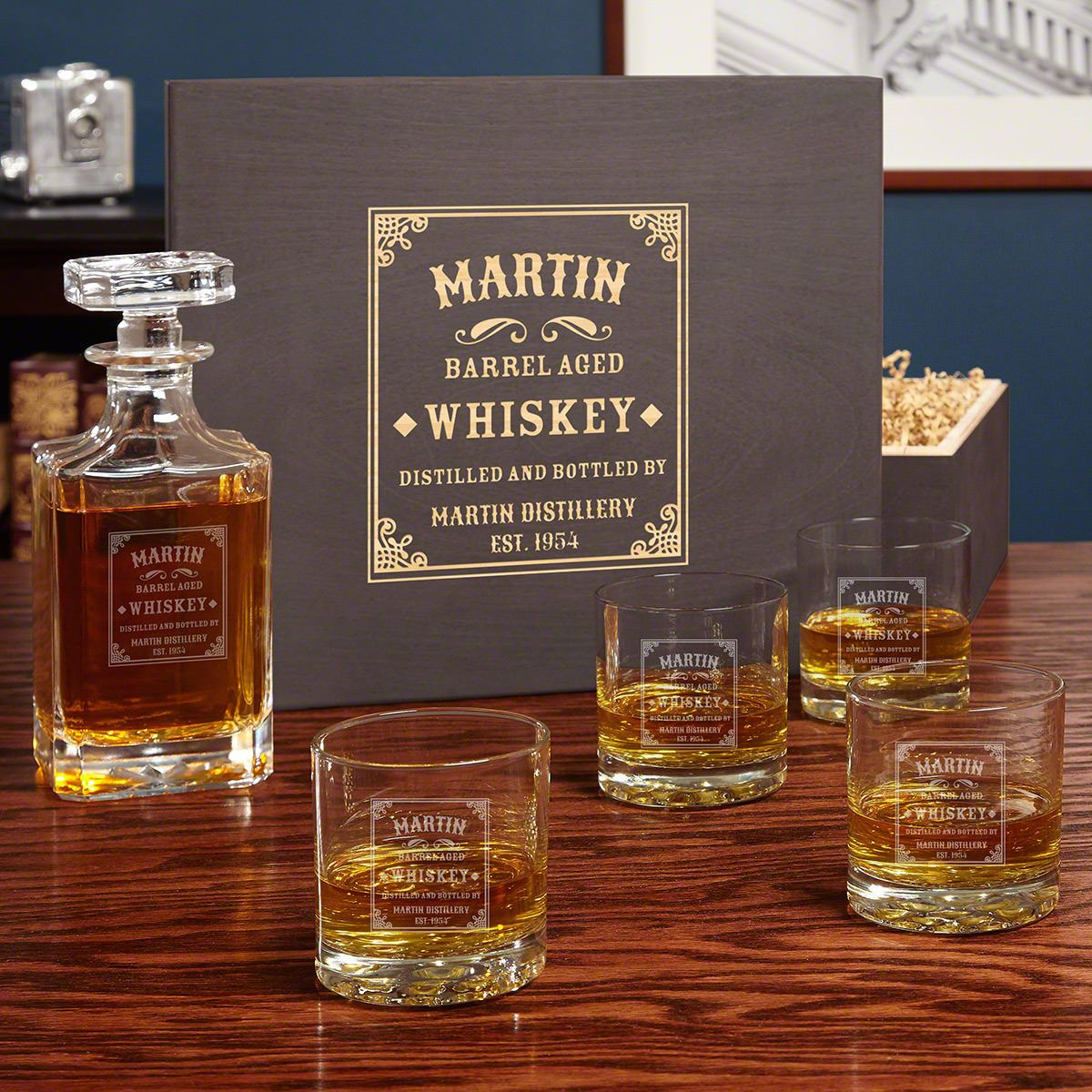 Stillhouse Personalized Whiskey Decanter Set with Carson Decanter & Buckman Glasses