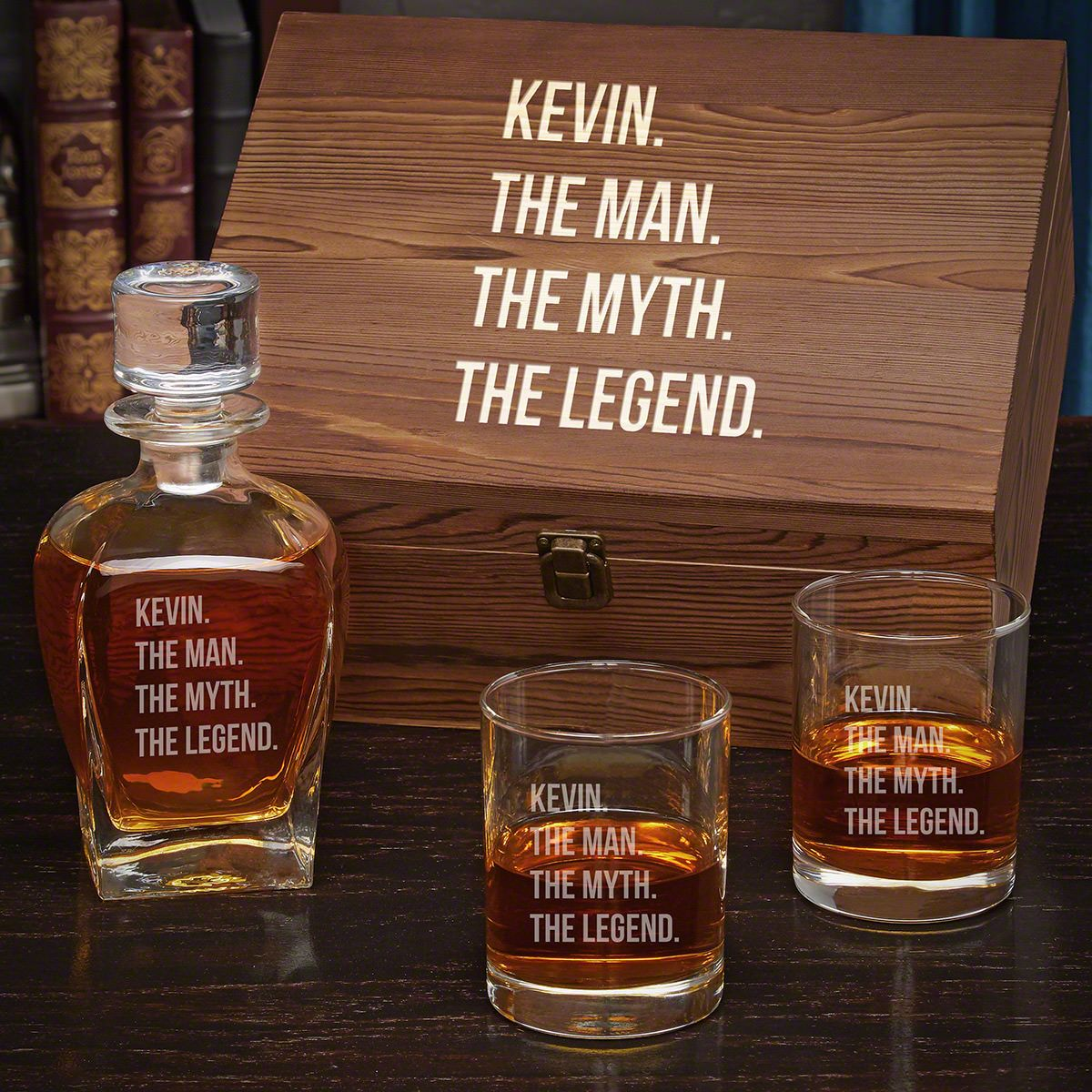 Man Myth Legend Draper Personalized Decanter Set with Eastham Glasses