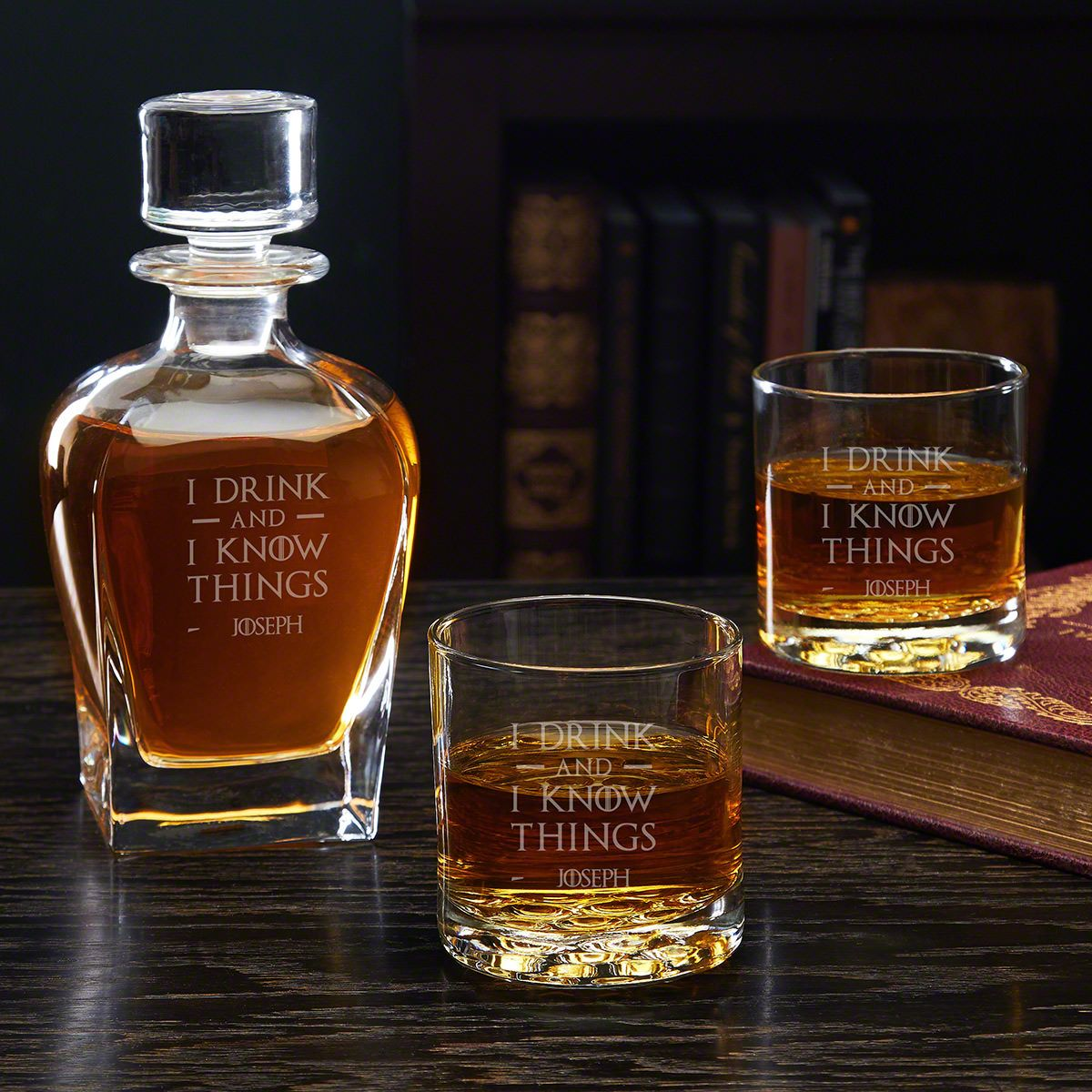 I Drink & I Know Things Draper Custom Decanter with Buckman Glasses