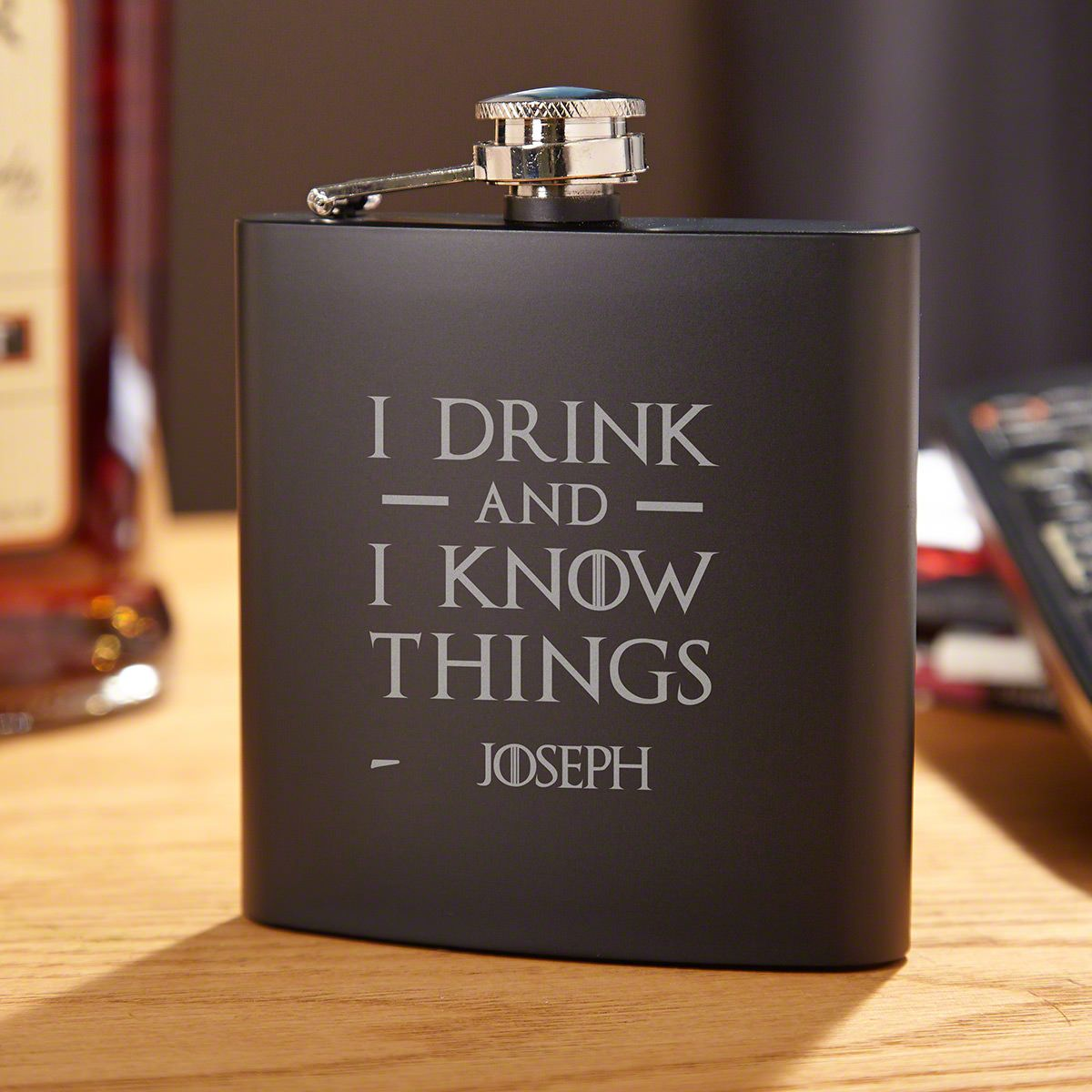 I Drink And I Know Things Personalized Flask